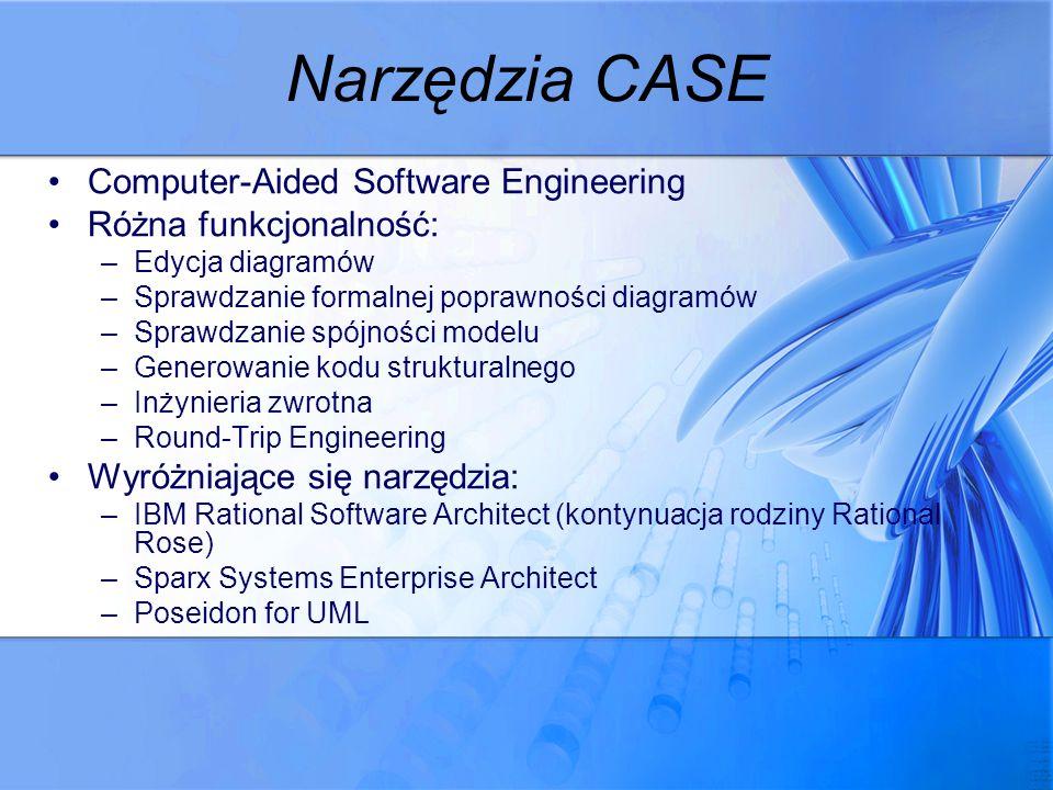 Narzędzia CASE Computer-Aided Software Engineering Różna funkcjonalność: –Edycja diagramów –Sprawdzanie formalnej poprawności diagramów –Sprawdzanie s