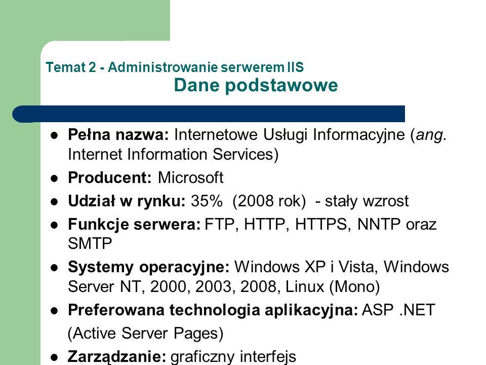 Temat 2 - Administrowanie serwerem IIS Dane podstawowe Pełna nazwa: Internetowe Usługi Informacyjne (ang.