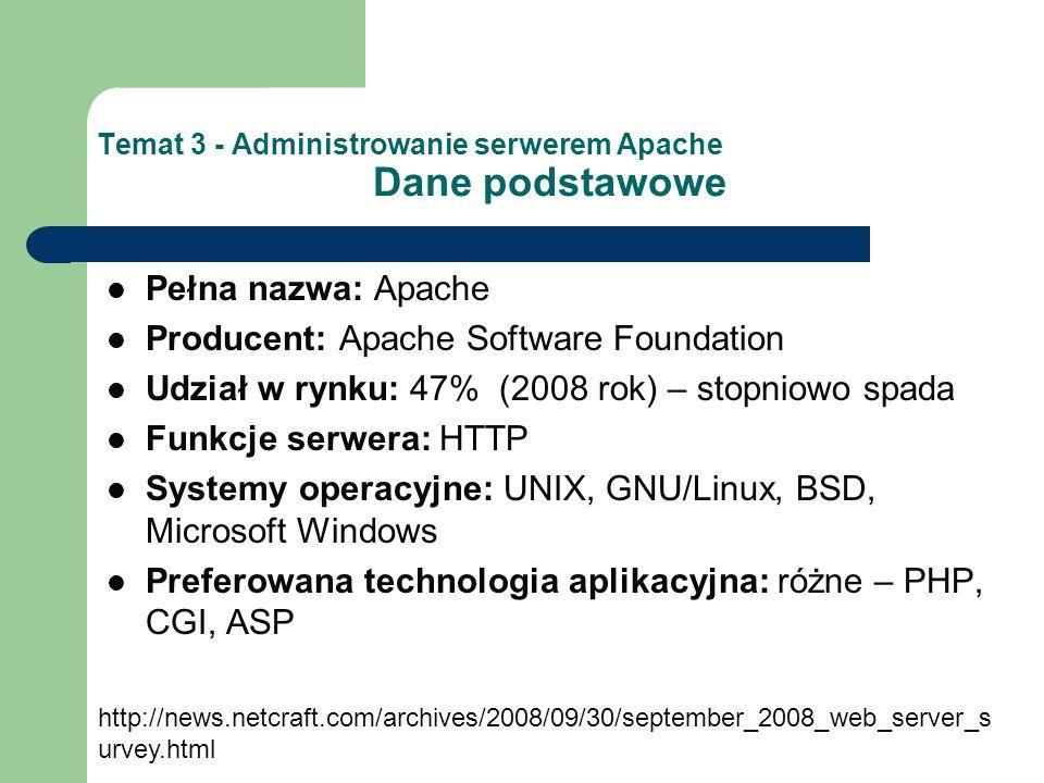 Temat 3 - Administrowanie serwerem Apache Czynności administracyjne 1.