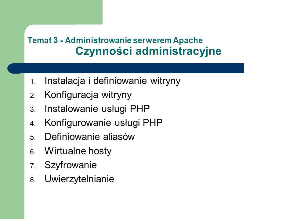 Temat 3 - Administrowanie serwerem Apache Czynności administracyjne 1. Instalacja i definiowanie witryny 2. Konfiguracja witryny 3. Instalowanie usług