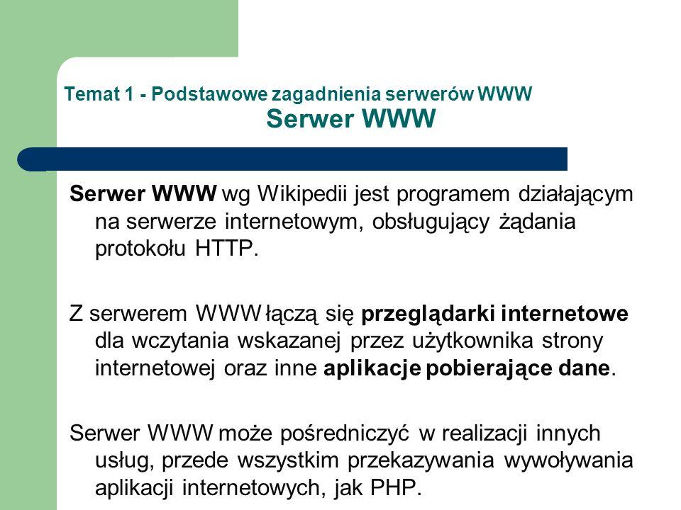 Temat 1 - Podstawowe zagadnienia serwerów WWW Serwer Aplikacyjny Serwer aplikacyjny to zintegrowane środowisko do opracowania i osadzania aplikacji, umożliwiające integrację w sieci takich usług jak: Uruchamianie aplikacji Zarządzanie dostępem i uprawieniami Optymalizacja działania Pracę w ramach klastrów
