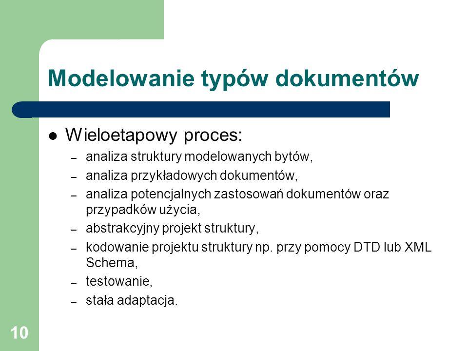 10 Modelowanie typów dokumentów Wieloetapowy proces: – analiza struktury modelowanych bytów, – analiza przykładowych dokumentów, – analiza potencjalny