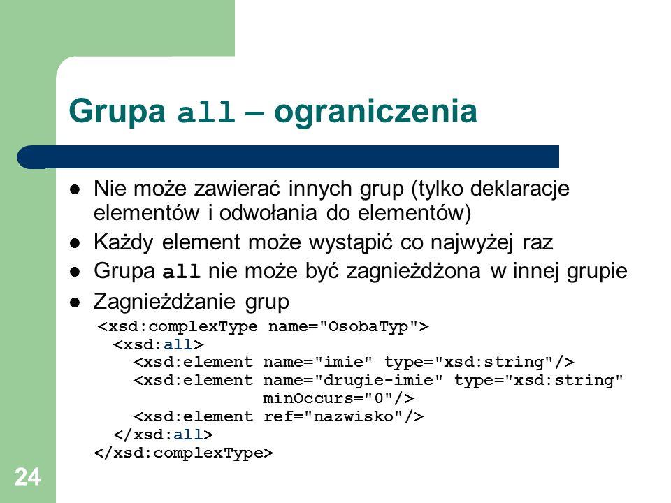 24 Grupa all – ograniczenia Nie może zawierać innych grup (tylko deklaracje elementów i odwołania do elementów) Każdy element może wystąpić co najwyże