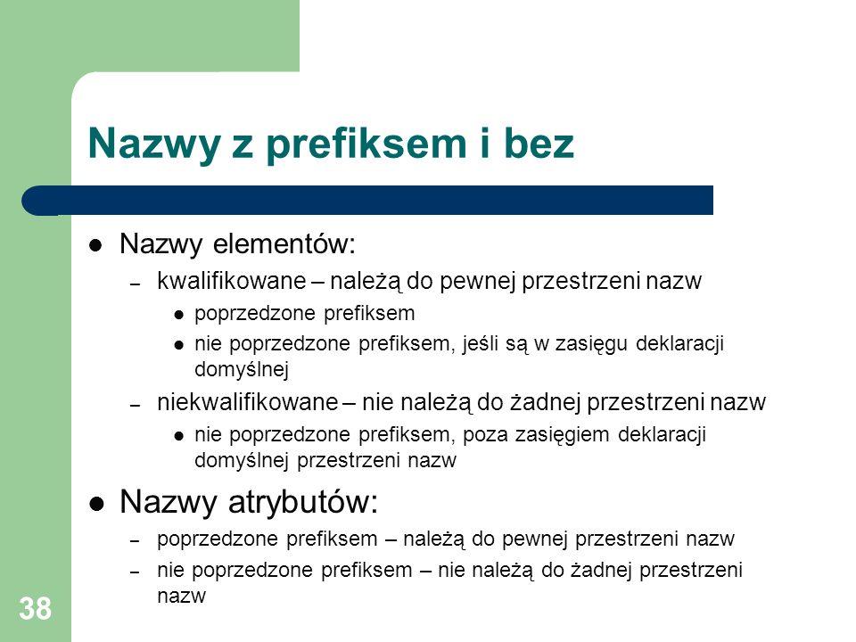 38 Nazwy z prefiksem i bez Nazwy elementów: – kwalifikowane – należą do pewnej przestrzeni nazw poprzedzone prefiksem nie poprzedzone prefiksem, jeśli