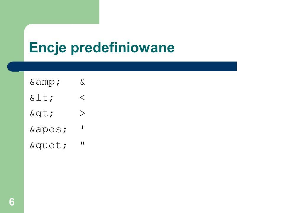 47 redefine Dołączanie dokumentu schematu do docelowej przestrzeni nazw głównego dokumentu schematu z możliwością przedefiniowania: – typów prostych i złożonych – nazwanych grup modeli – grup atrybutów http://zajecia.edu.pl/osoby osoba imię nazwisko NIP NIPTyp osoby.xsd firma nazwa REGON NIPTyp inst.xsd