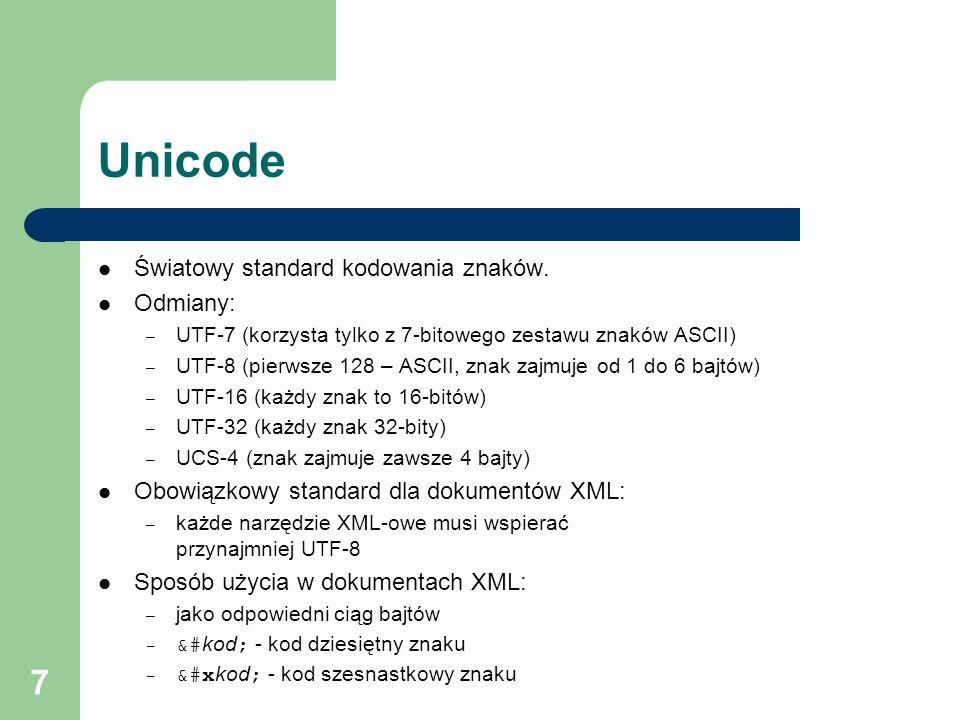 8 Definiowanie języków XML, SGML Definiowanie języków (zastosowań, struktury dokumentów, typów dokumentów): – określanie zestawu dopuszczalnych elementów, atrybutów definiowanie dopuszczalnej zawartości elementów (tekst, inne elementy) – przypisywanie atrybutów do elementów – inne części Metody definiowania struktury: – dokument XML bez formalnej definicji struktury – DTD – Document Type Definition – XML Schema (rekomendacja W3C z 2 maja 2001)