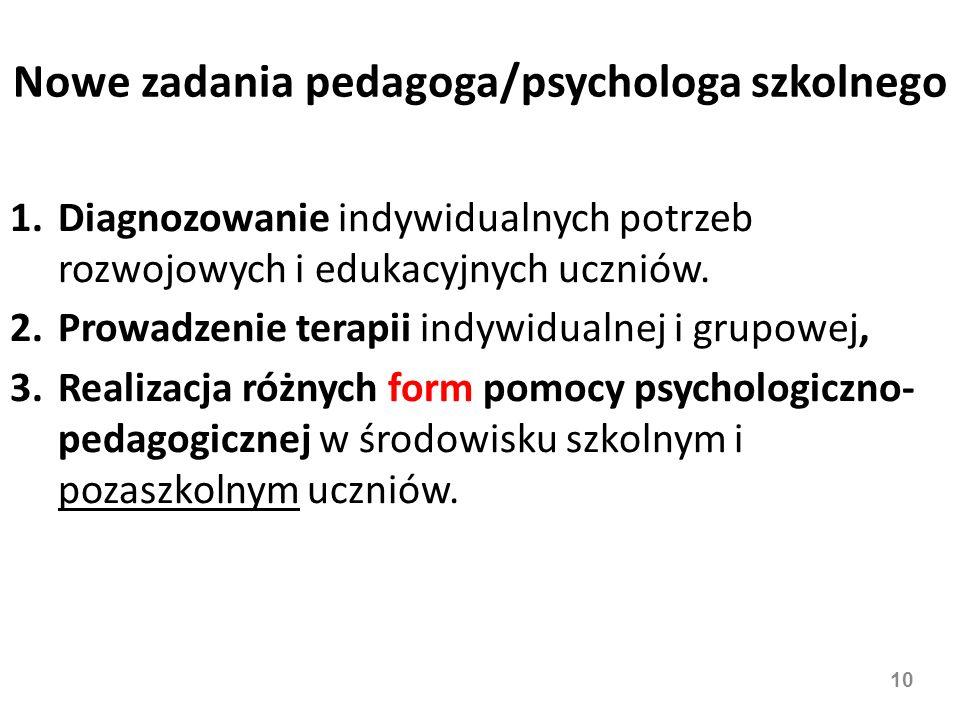 Nowe zadania pedagoga/psychologa szkolnego 10 1.Diagnozowanie indywidualnych potrzeb rozwojowych i edukacyjnych uczniów. 2.Prowadzenie terapii indywid