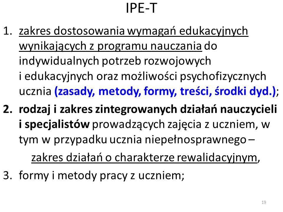IPE-T 1.zakres dostosowania wymagań edukacyjnych wynikających z programu nauczania do indywidualnych potrzeb rozwojowych i edukacyjnych oraz możliwośc
