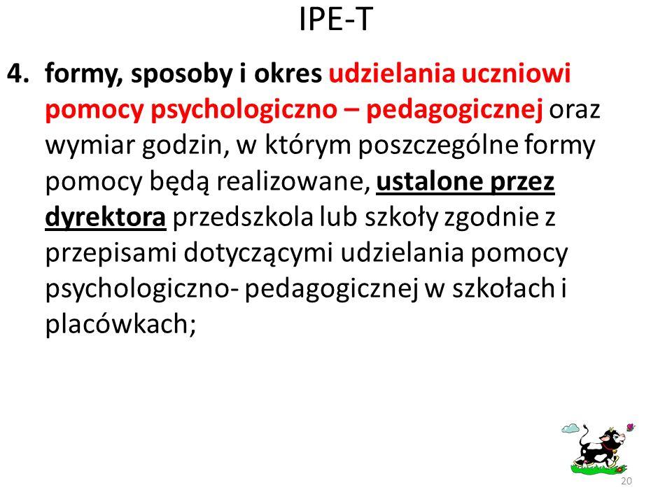 IPE-T 4.formy, sposoby i okres udzielania uczniowi pomocy psychologiczno – pedagogicznej oraz wymiar godzin, w którym poszczególne formy pomocy będą r