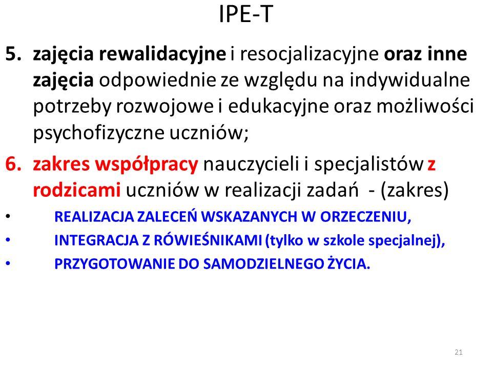 IPE-T 5.zajęcia rewalidacyjne i resocjalizacyjne oraz inne zajęcia odpowiednie ze względu na indywidualne potrzeby rozwojowe i edukacyjne oraz możliwo