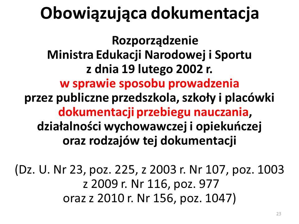 Obowiązująca dokumentacja Rozporządzenie Ministra Edukacji Narodowej i Sportu z dnia 19 lutego 2002 r. w sprawie sposobu prowadzenia przez publiczne p