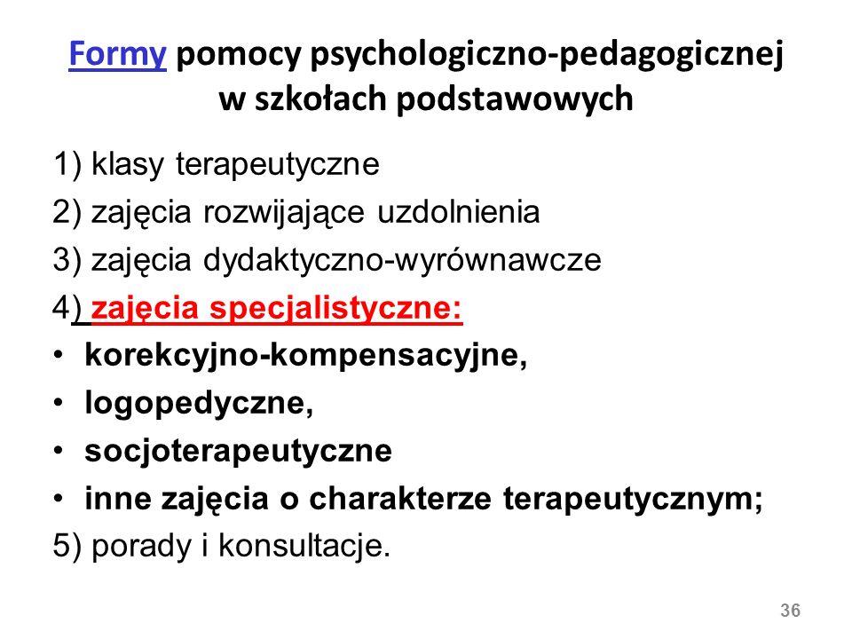 Formy pomocy psychologiczno-pedagogicznej w szkołach podstawowych 1) klasy terapeutyczne 2) zajęcia rozwijające uzdolnienia 3) zajęcia dydaktyczno-wyr