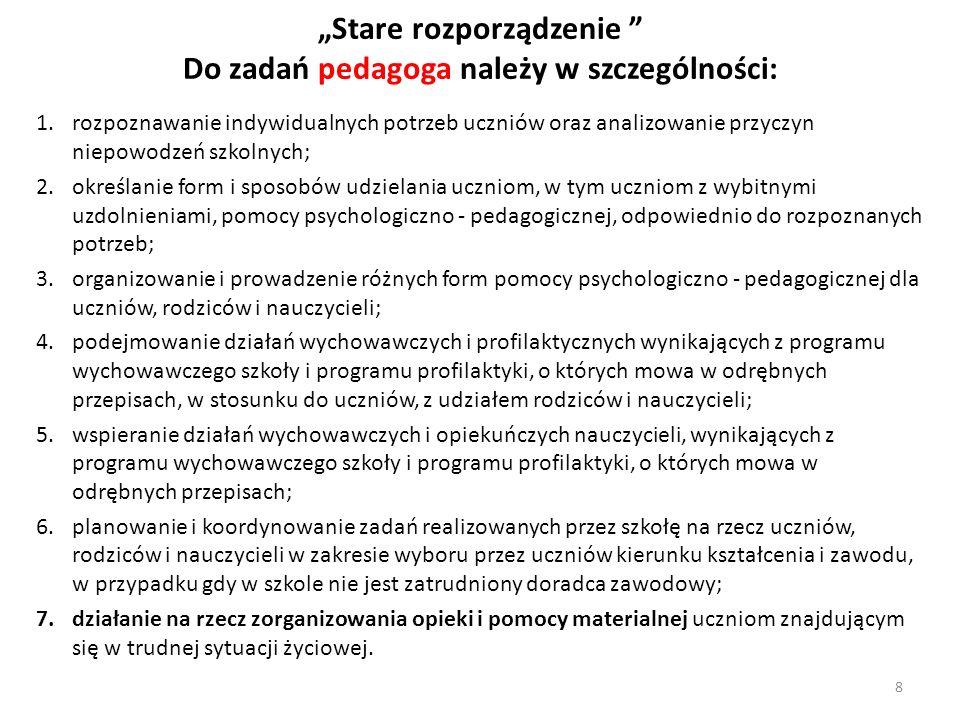 Stare rozporządzenie Do zadań pedagoga należy w szczególności: 1.rozpoznawanie indywidualnych potrzeb uczniów oraz analizowanie przyczyn niepowodzeń s