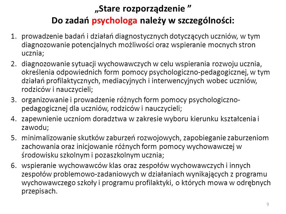 Stare rozporządzenie Do zadań psychologa należy w szczególności: 1.prowadzenie badań i działań diagnostycznych dotyczących uczniów, w tym diagnozowani