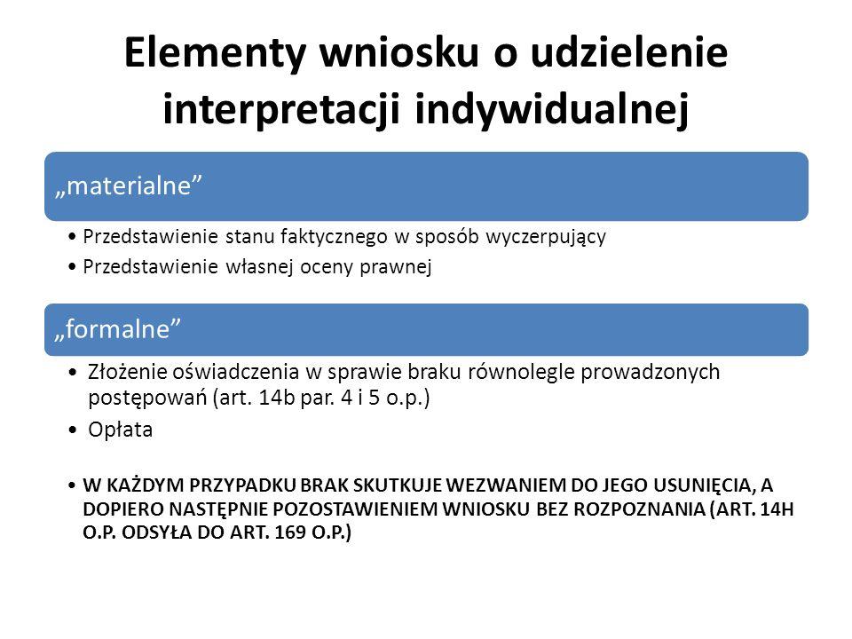 Elementy wniosku o udzielenie interpretacji indywidualnej materialne Przedstawienie stanu faktycznego w sposób wyczerpujący Przedstawienie własnej oce