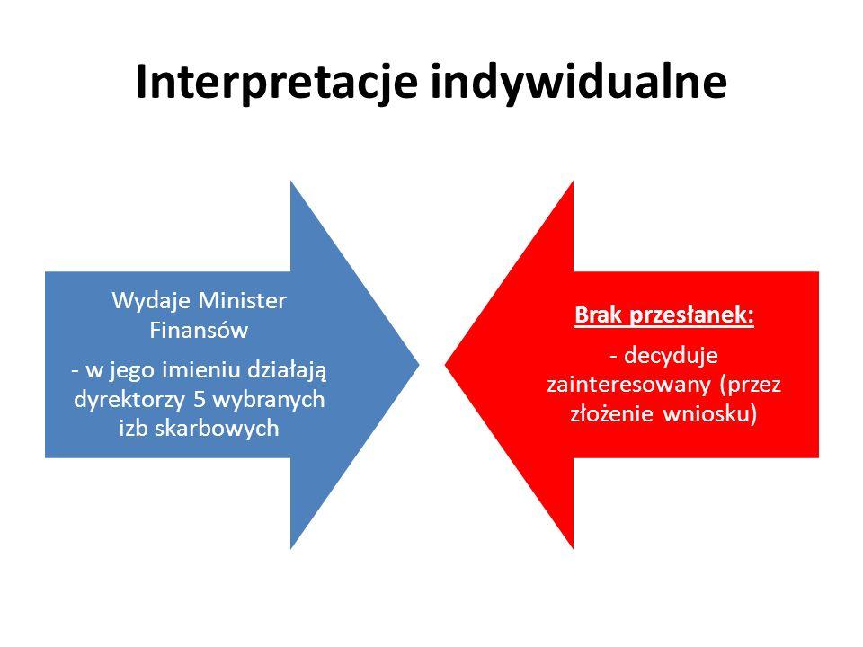 Interpretacje indywidualne Wydaje Minister Finansów - w jego imieniu działają dyrektorzy 5 wybranych izb skarbowych Brak przesłanek: - decyduje zainte