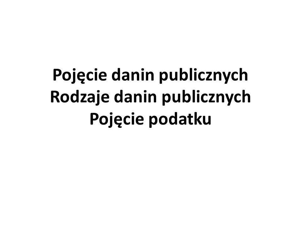 Pojęcie danin publicznych Rodzaje danin publicznych Pojęcie podatku