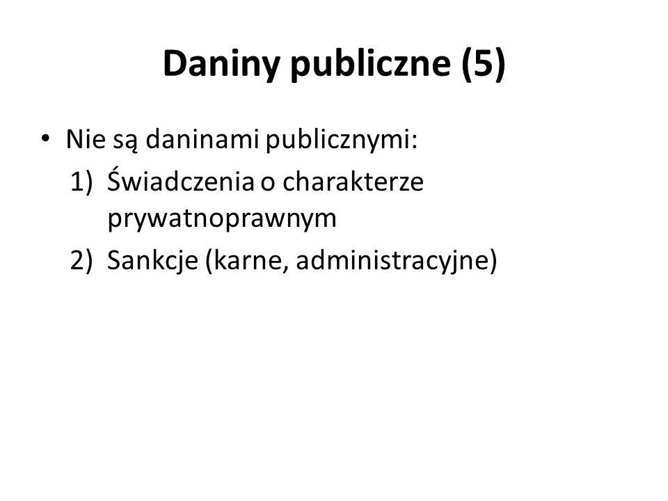 Daniny publiczne (5) Nie są daninami publicznymi: 1)Świadczenia o charakterze prywatnoprawnym 2)Sankcje (karne, administracyjne)