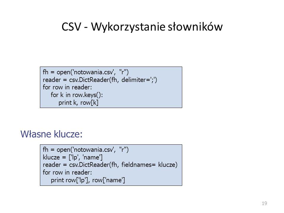 CSV - Wykorzystanie słowników 19 fh = open('notowania.csv',