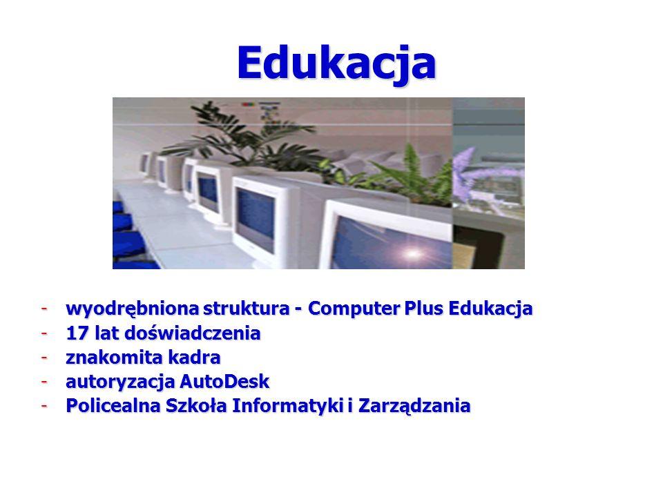 Edukacja -wyodrębniona struktura - Computer Plus Edukacja -17 lat doświadczenia -znakomita kadra -autoryzacja AutoDesk -Policealna Szkoła Informatyki i Zarządzania