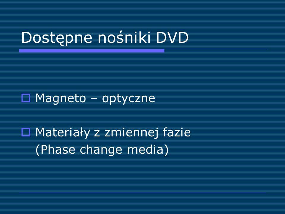 Dostępne nośniki DVD Magneto – optyczne Materiały z zmiennej fazie (Phase change media)