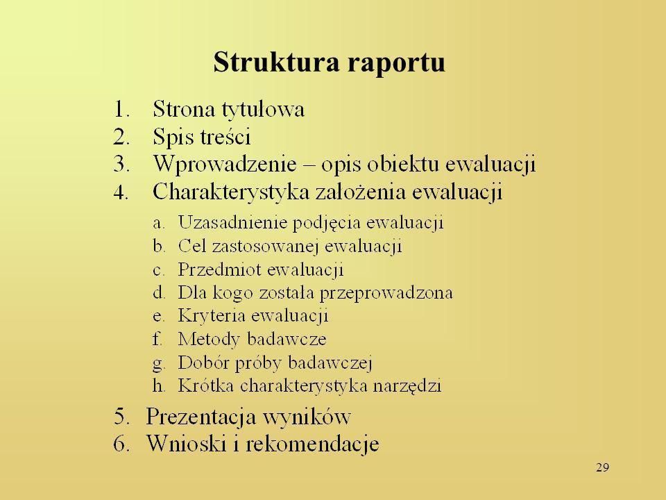 29 Struktura raportu