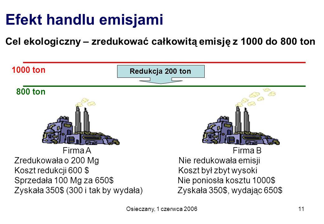 Osieczany, 1 czerwca 200611 Efekt handlu emisjami Cel ekologiczny – zredukować całkowitą emisję z 1000 do 800 ton Firma A Firma B Zredukowała o 200 Mg