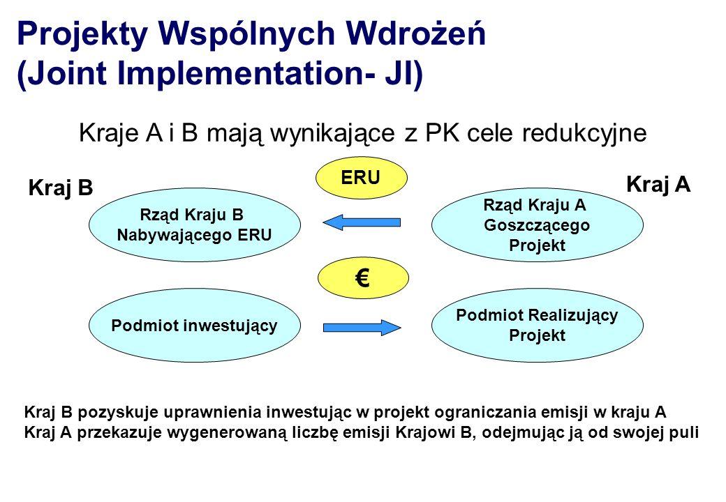Projekty Wspólnych Wdrożeń (Joint Implementation- JI) Rząd Kraju B Nabywającego ERU Podmiot inwestujący Podmiot Realizujący Projekt Rząd Kraju A Goszc