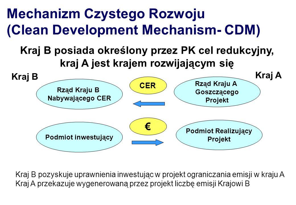 Rząd Kraju B Nabywającego CER Podmiot inwestujący Podmiot Realizujący Projekt Rząd Kraju A Goszczącego Projekt CER Kraj B pozyskuje uprawnienia inwest