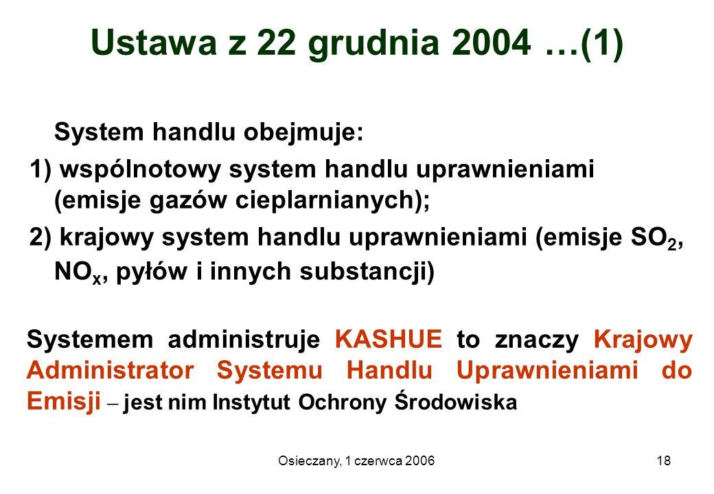 Osieczany, 1 czerwca 200618 Ustawa z 22 grudnia 2004 …(1) System handlu obejmuje: 1) wspólnotowy system handlu uprawnieniami (emisje gazów cieplarnian
