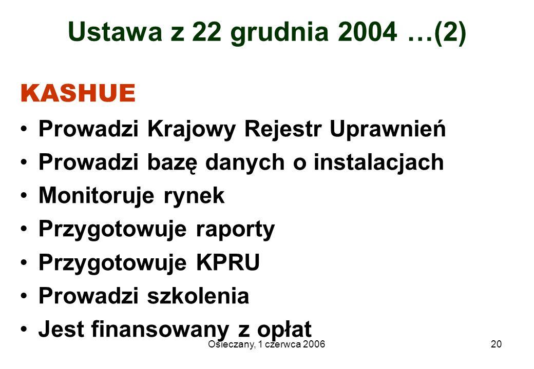 Osieczany, 1 czerwca 200620 Ustawa z 22 grudnia 2004 …(2) KASHUE Prowadzi Krajowy Rejestr Uprawnień Prowadzi bazę danych o instalacjach Monitoruje ryn