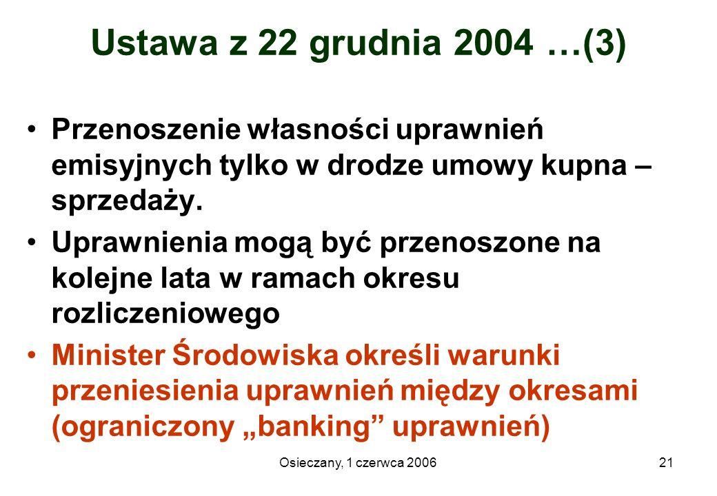 Osieczany, 1 czerwca 200621 Ustawa z 22 grudnia 2004 …(3) Przenoszenie własności uprawnień emisyjnych tylko w drodze umowy kupna – sprzedaży. Uprawnie
