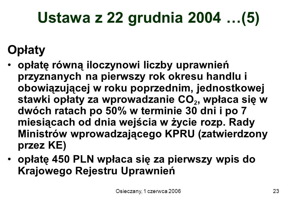 Osieczany, 1 czerwca 200623 Ustawa z 22 grudnia 2004 …(5) Opłaty opłatę równą iloczynowi liczby uprawnień przyznanych na pierwszy rok okresu handlu i