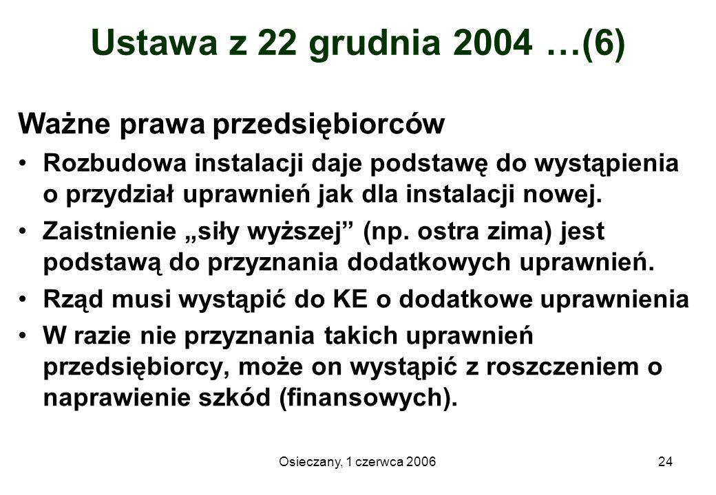 Osieczany, 1 czerwca 200624 Ustawa z 22 grudnia 2004 …(6) Ważne prawa przedsiębiorców Rozbudowa instalacji daje podstawę do wystąpienia o przydział up