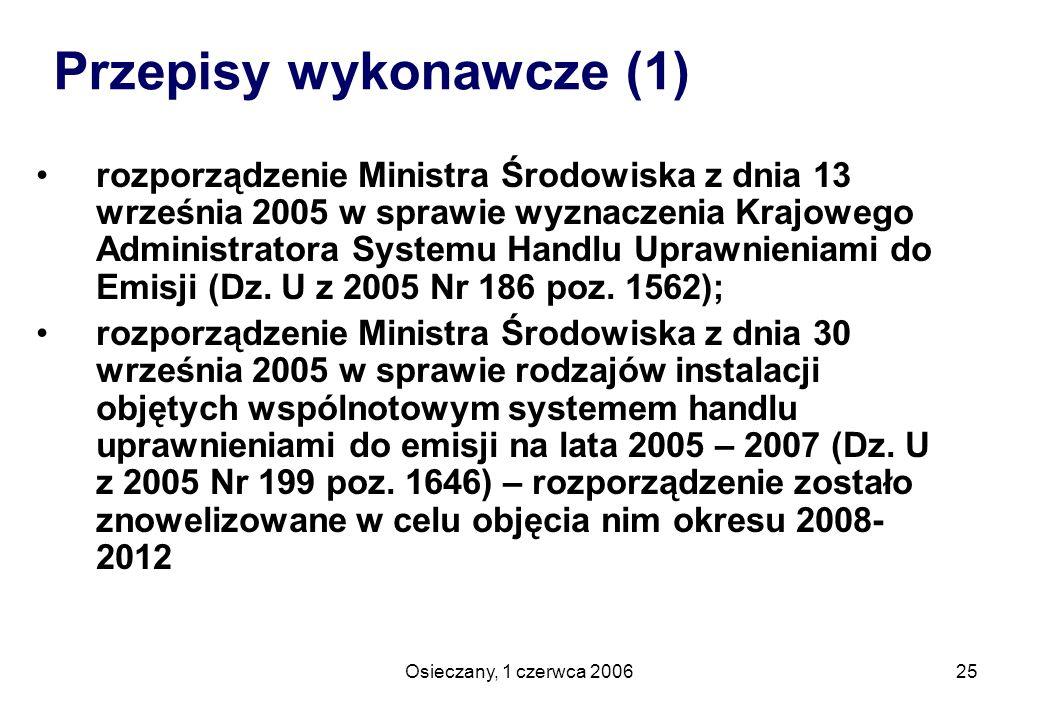 Osieczany, 1 czerwca 200625 Przepisy wykonawcze (1) rozporządzenie Ministra Środowiska z dnia 13 września 2005 w sprawie wyznaczenia Krajowego Adminis