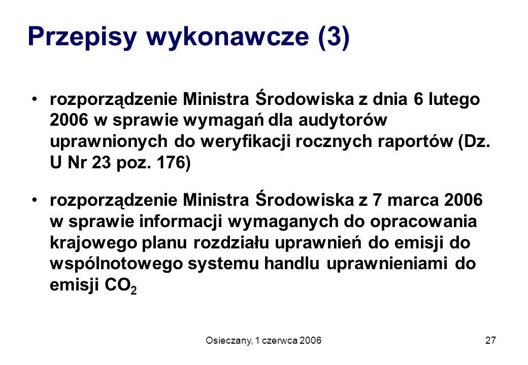 Osieczany, 1 czerwca 200627 rozporządzenie Ministra Środowiska z dnia 6 lutego 2006 w sprawie wymagań dla audytorów uprawnionych do weryfikacji roczny