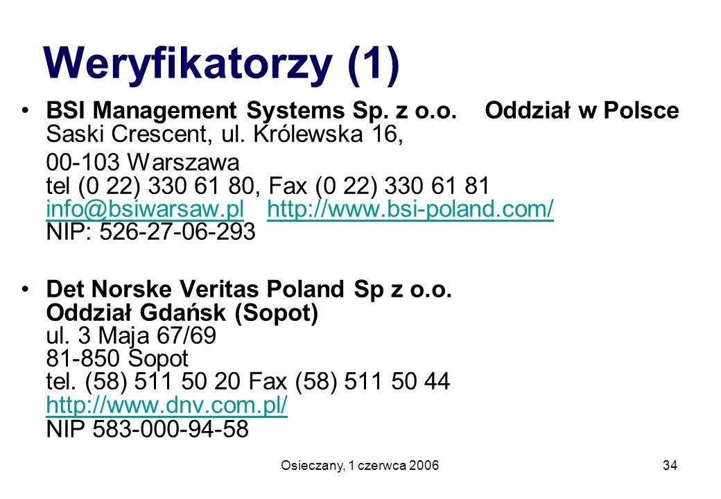 Osieczany, 1 czerwca 200634 Weryfikatorzy (1) BSI Management Systems Sp. z o.o. Oddział w Polsce Saski Crescent, ul. Królewska 16, 00-103 Warszawa tel