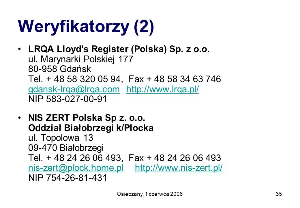 Osieczany, 1 czerwca 200635 Weryfikatorzy (2) LRQA Lloyd's Register (Polska) Sp. z o.o. ul. Marynarki Polskiej 177 80-958 Gdańsk Tel. + 48 58 320 05 9