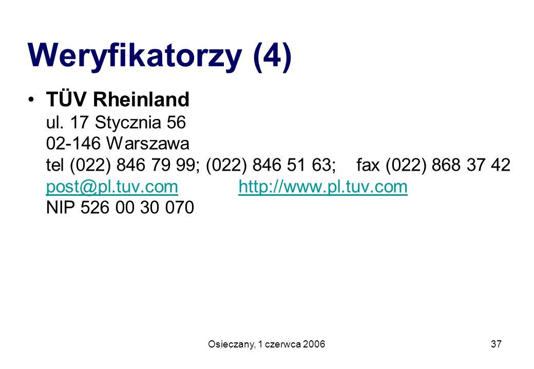 Osieczany, 1 czerwca 200637 TÜV Rheinland ul. 17 Stycznia 56 02-146 Warszawa tel (022) 846 79 99; (022) 846 51 63; fax (022) 868 37 42 post@pl.tuv.com