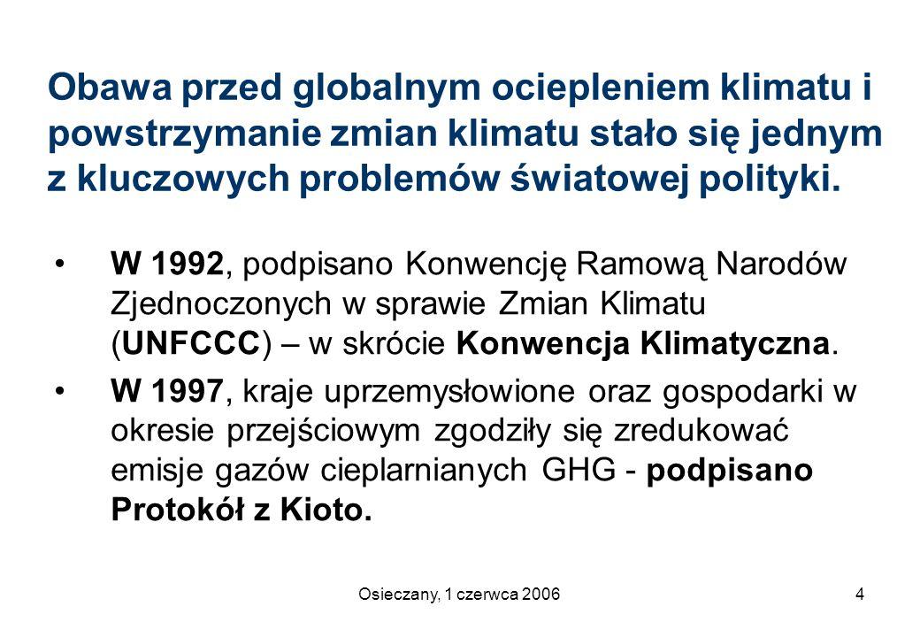 Osieczany, 1 czerwca 200625 Przepisy wykonawcze (1) rozporządzenie Ministra Środowiska z dnia 13 września 2005 w sprawie wyznaczenia Krajowego Administratora Systemu Handlu Uprawnieniami do Emisji (Dz.