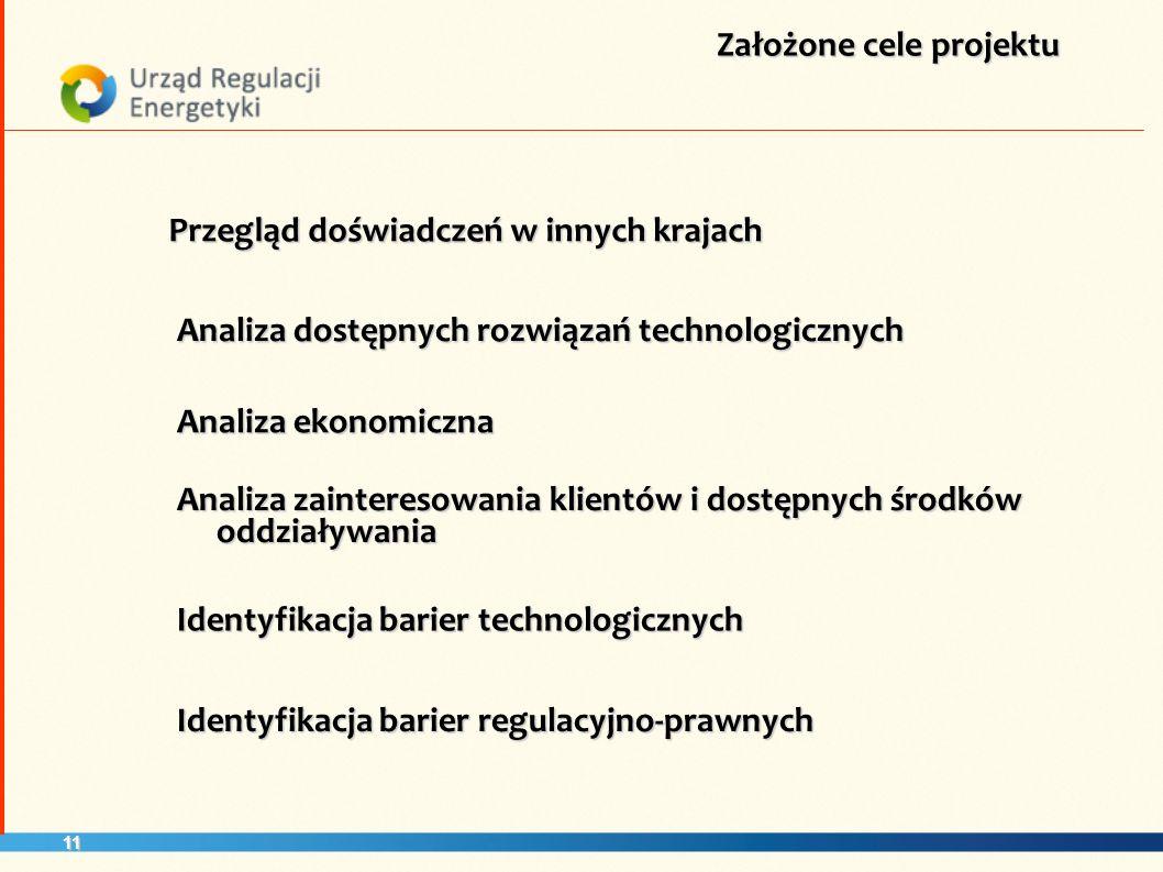 11 Założone cele projektu Przegląd doświadczeń w innych krajach Analiza ekonomiczna Identyfikacja barier technologicznych Analiza dostępnych rozwiązań