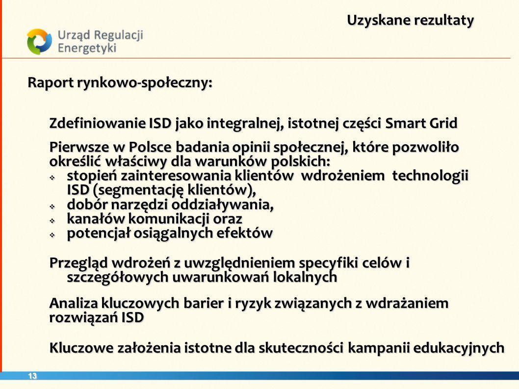 13 Uzyskane rezultaty Raport rynkowo-społeczny: Zdefiniowanie ISD jako integralnej, istotnej części Smart Grid Pierwsze w Polsce badania opinii społec