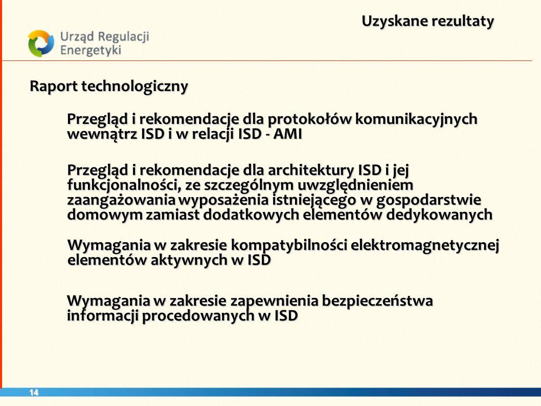 14 Uzyskane rezultaty Raport technologiczny Przegląd i rekomendacje dla protokołów komunikacyjnych wewnątrz ISD i w relacji ISD - AMI Przegląd i rekom
