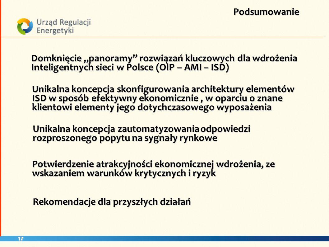 17 Domknięcie panoramy rozwiązań kluczowych dla wdrożenia Inteligentnych sieci w Polsce (OIP – AMI – ISD) Podsumowanie Rekomendacje dla przyszłych dzi