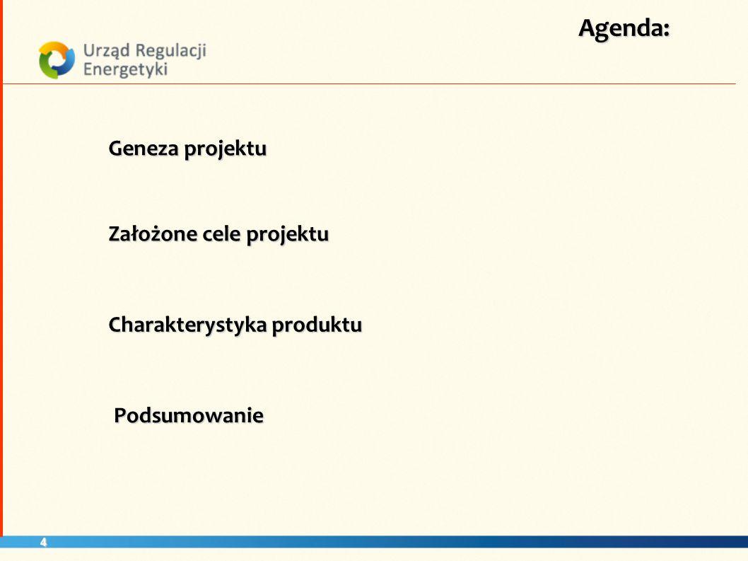 4 Agenda: Założone cele projektu Geneza projektu Charakterystyka produktu Podsumowanie
