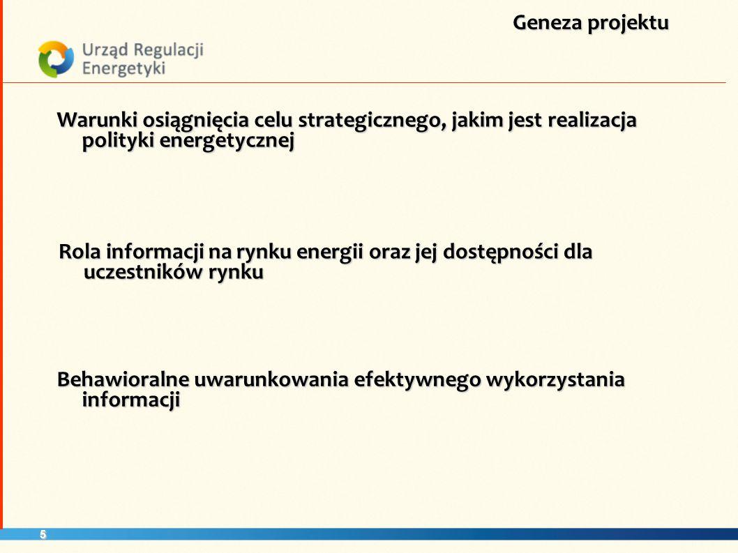 5 Warunki osiągnięcia celu strategicznego, jakim jest realizacja polityki energetycznej Geneza projektu Rola informacji na rynku energii oraz jej dost