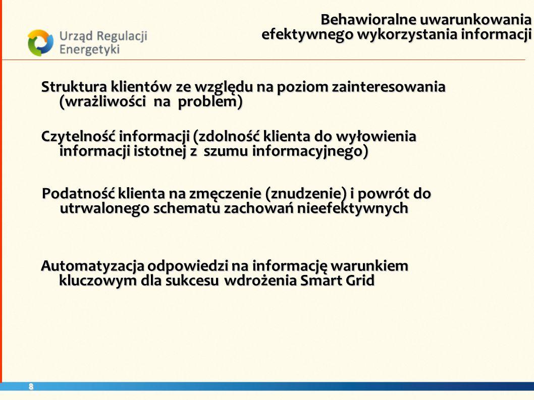 8 Struktura klientów ze względu na poziom zainteresowania (wrażliwości na problem) Czytelność informacji (zdolność klienta do wyłowienia informacji is