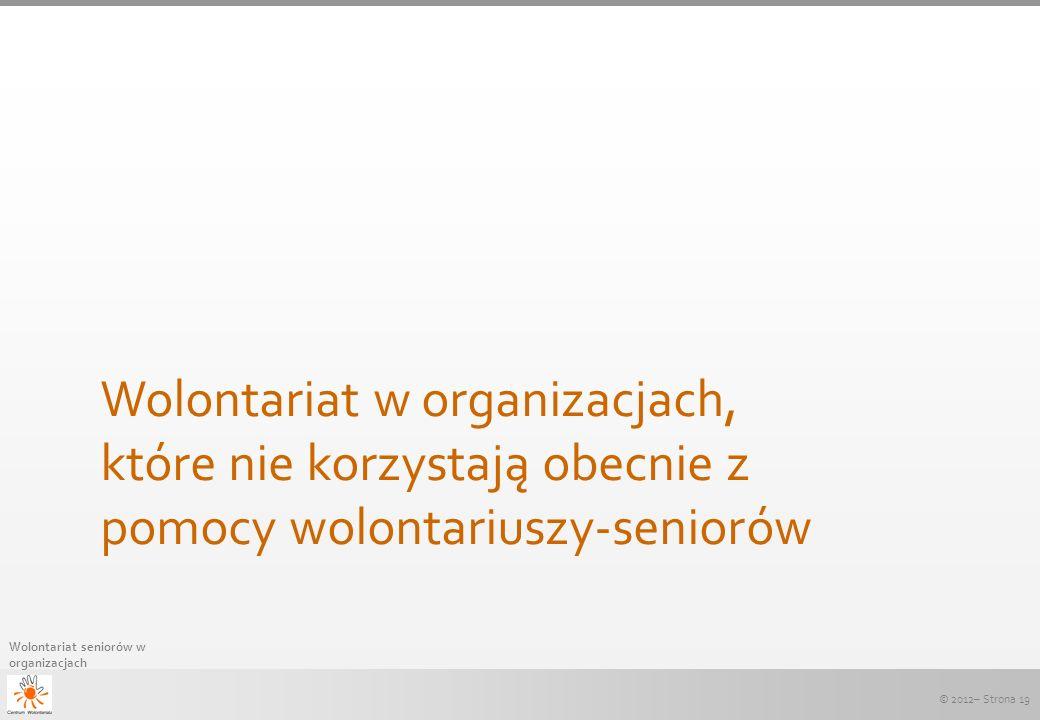 © 2012– Strona 19 Wolontariat seniorów w organizacjach Wolontariat w organizacjach, które nie korzystają obecnie z pomocy wolontariuszy-seniorów
