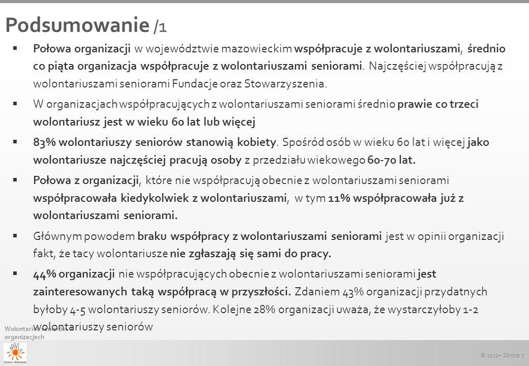 © 2012– Strona 7 Wolontariat seniorów w organizacjach Podsumowanie /1 Połowa organizacji w województwie mazowieckim współpracuje z wolontariuszami, śr