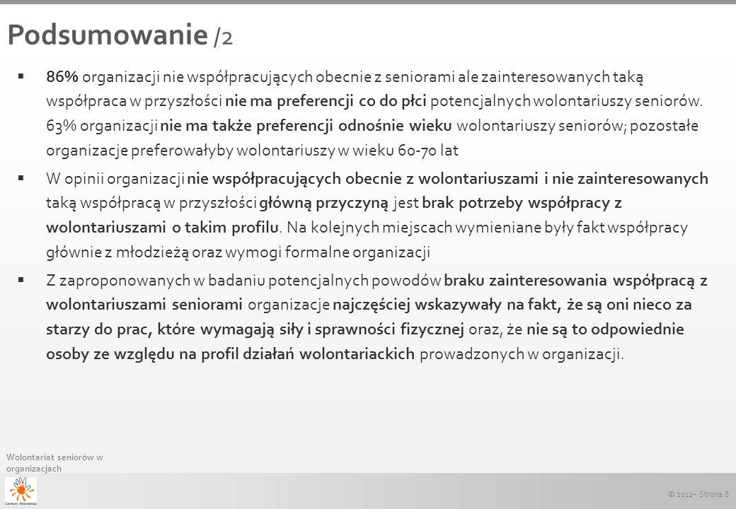 © 2012– Strona 8 Wolontariat seniorów w organizacjach Podsumowanie /2 86% organizacji nie współpracujących obecnie z seniorami ale zainteresowanych ta